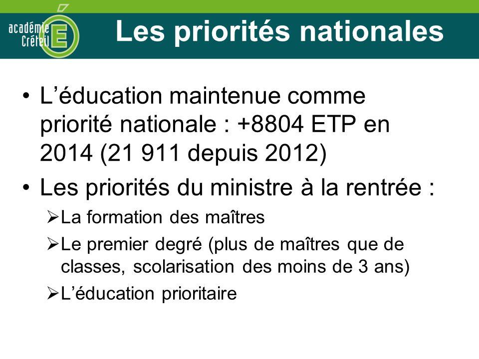 Les priorités nationales Léducation maintenue comme priorité nationale : +8804 ETP en 2014 (21 911 depuis 2012) Les priorités du ministre à la rentrée : La formation des maîtres Le premier degré (plus de maîtres que de classes, scolarisation des moins de 3 ans) Léducation prioritaire