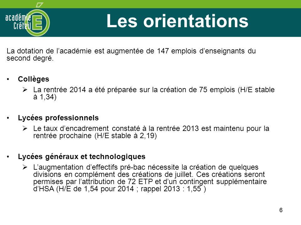 6 Les orientations La dotation de lacadémie est augmentée de 147 emplois denseignants du second degré. Collèges La rentrée 2014 a été préparée sur la
