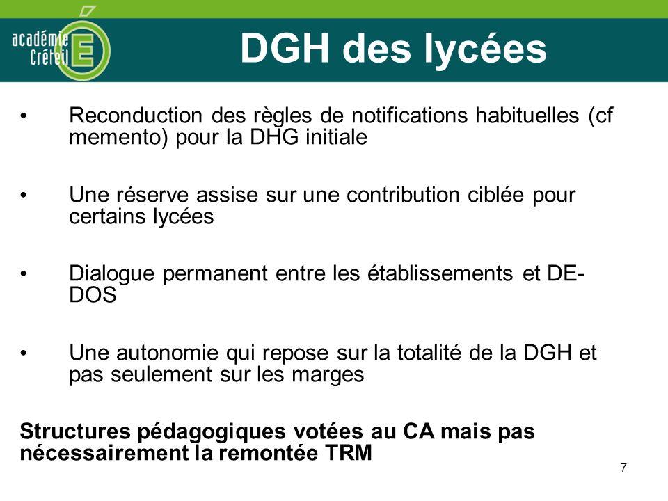 7 DGH des lycées Reconduction des règles de notifications habituelles (cf memento) pour la DHG initiale Une réserve assise sur une contribution ciblée
