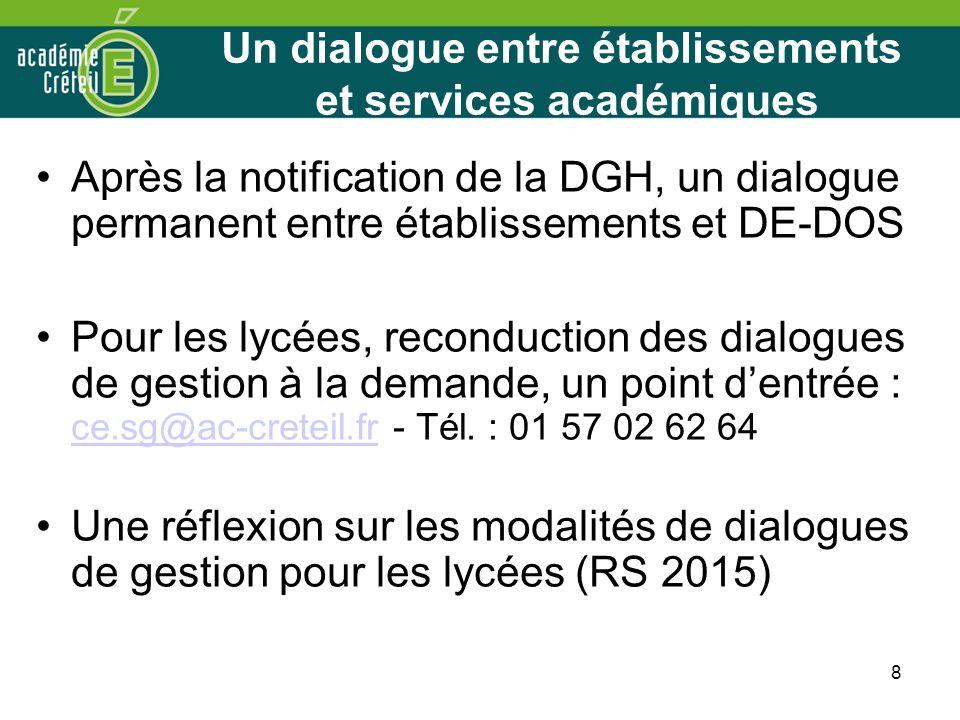 8 Un dialogue entre établissements et services académiques Après la notification de la DGH, un dialogue permanent entre établissements et DE-DOS Pour