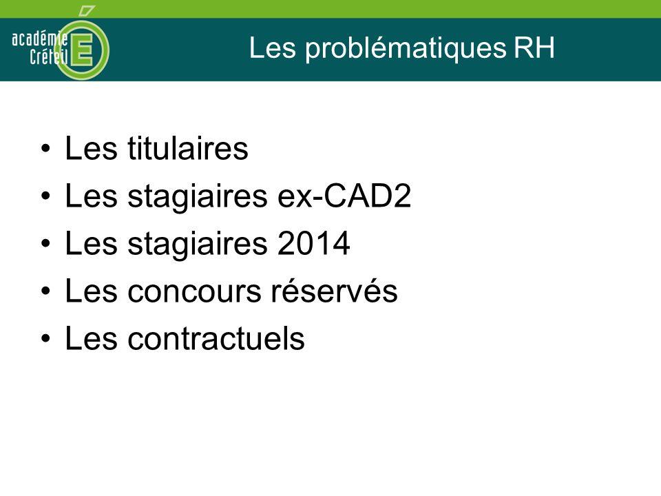 Les problématiques RH Les titulaires Les stagiaires ex-CAD2 Les stagiaires 2014 Les concours réservés Les contractuels