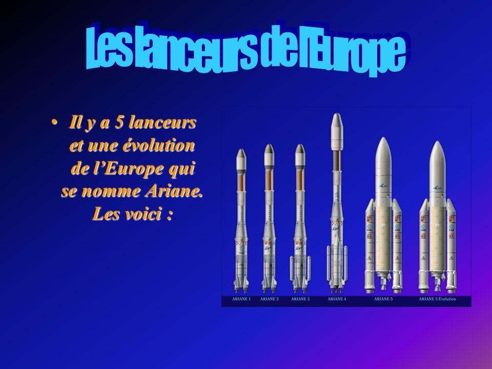 Il y a 5 lanceurs et une évolution de lEurope qui se nomme Ariane.