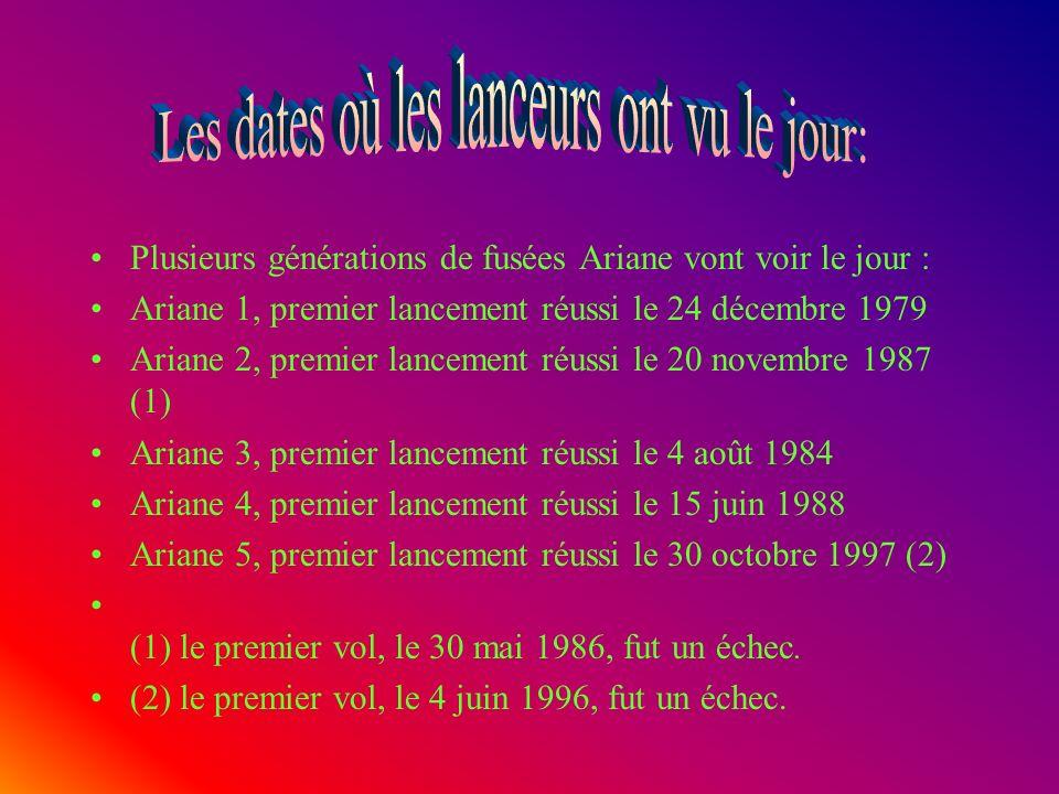 Plusieurs générations de fusées Ariane vont voir le jour : Ariane 1, premier lancement réussi le 24 décembre 1979 Ariane 2, premier lancement réussi le 20 novembre 1987 (1) Ariane 3, premier lancement réussi le 4 août 1984 Ariane 4, premier lancement réussi le 15 juin 1988 Ariane 5, premier lancement réussi le 30 octobre 1997 (2) (1) le premier vol, le 30 mai 1986, fut un échec.