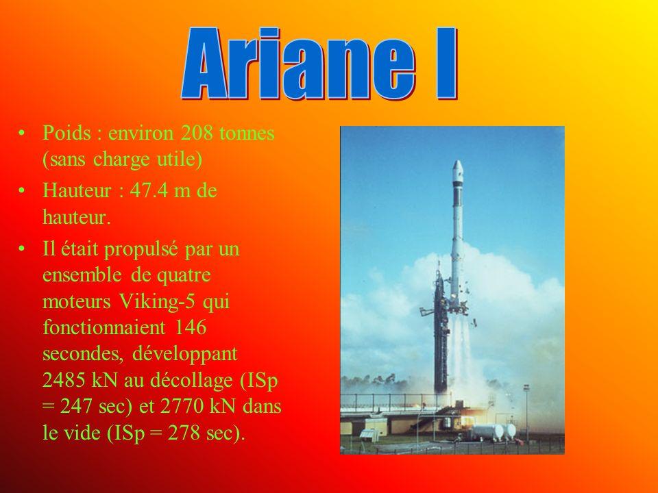 Poids : environ 208 tonnes (sans charge utile) Hauteur : 47.4 m de hauteur.