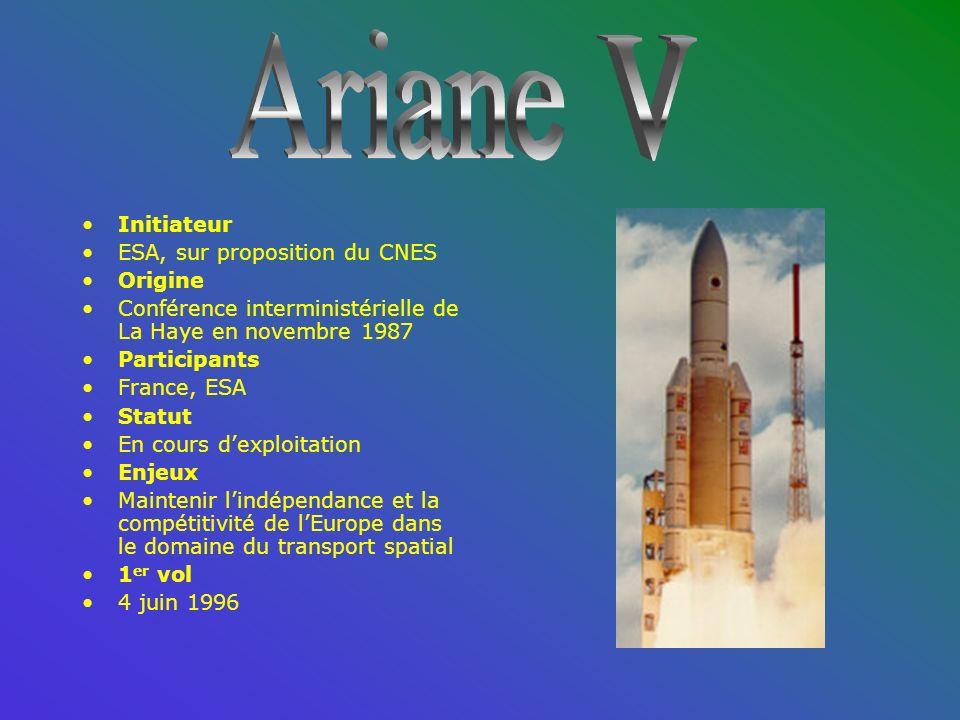 Initiateur ESA, sur proposition du CNES Origine Conférence interministérielle de La Haye en novembre 1987 Participants France, ESA Statut En cours dexploitation Enjeux Maintenir lindépendance et la compétitivité de lEurope dans le domaine du transport spatial 1 er vol 4 juin 1996