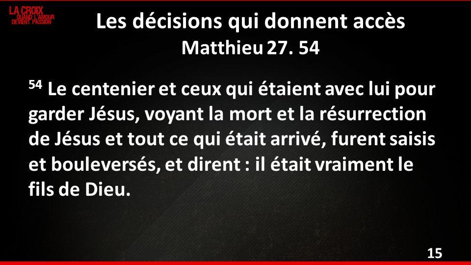 Les décisions qui donnent accès Matthieu 27.