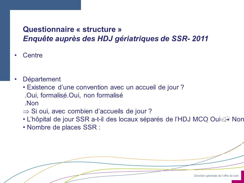 Direction générale de loffre de soin Questionnaire « structure » Enquête auprès des HDJ gériatriques de SSR- 2011 Centre Département Existence dune co