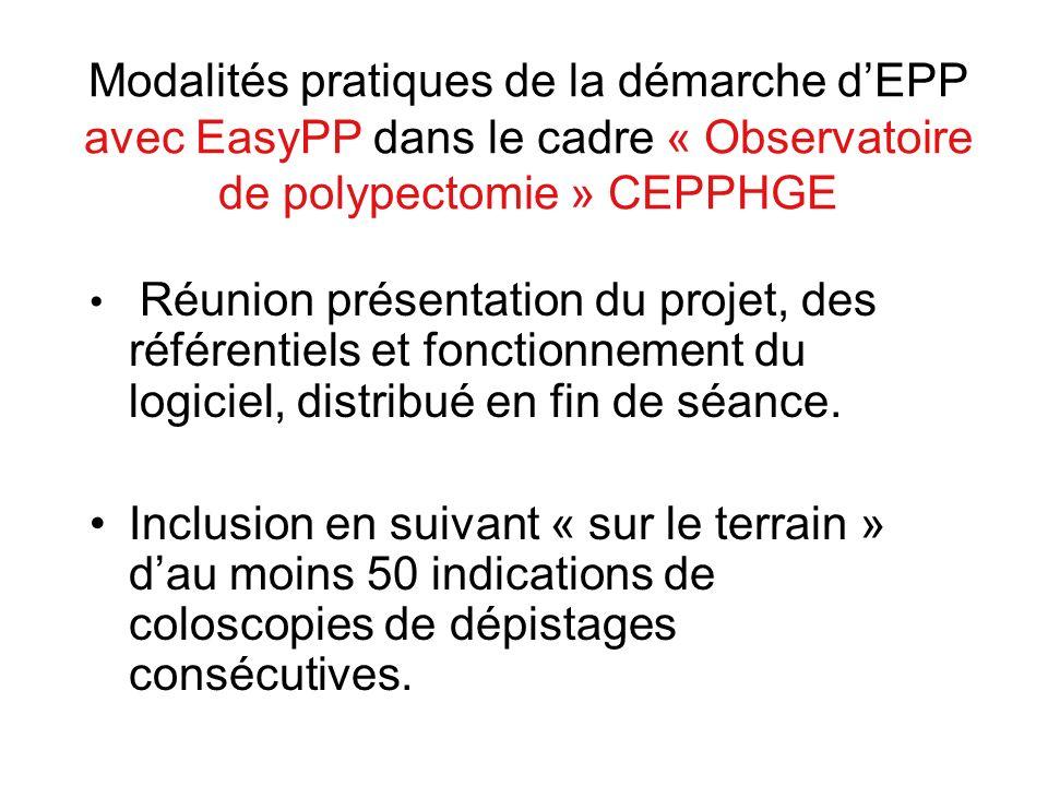 Modalités pratiques de la démarche dEPP avec EasyPP dans le cadre « Observatoire de polypectomie » CEPPHGE Réunion présentation du projet, des référen