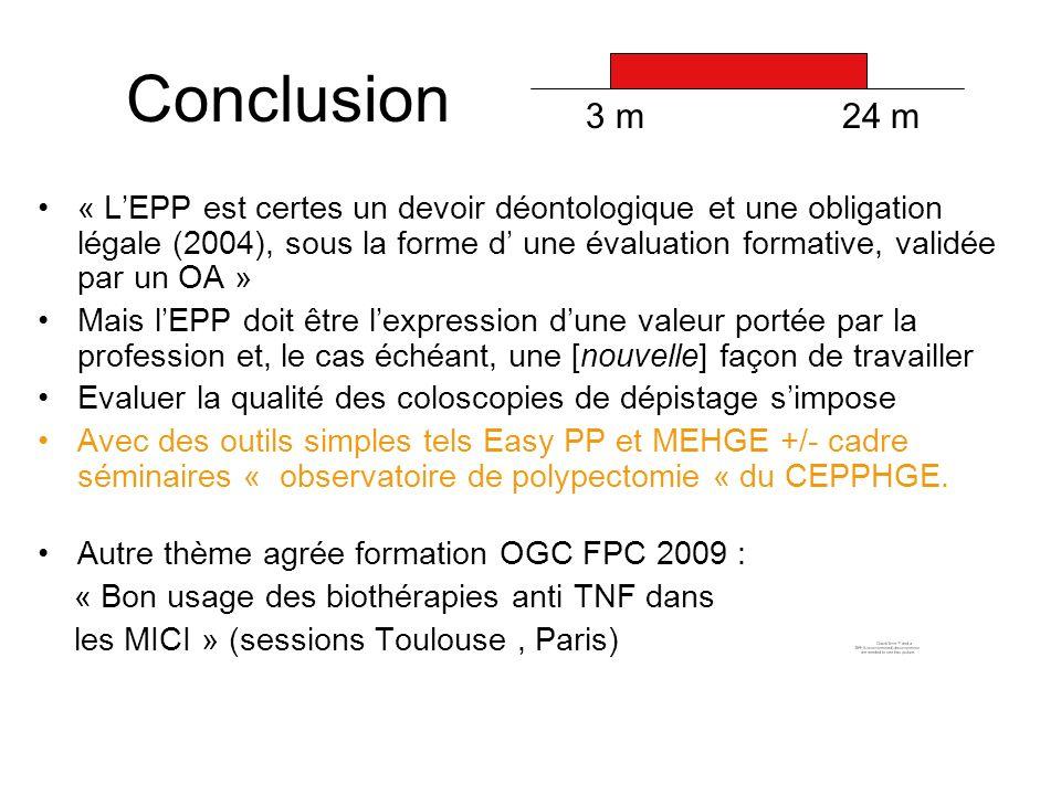 Conclusion « LEPP est certes un devoir déontologique et une obligation légale (2004), sous la forme d une évaluation formative, validée par un OA » Ma