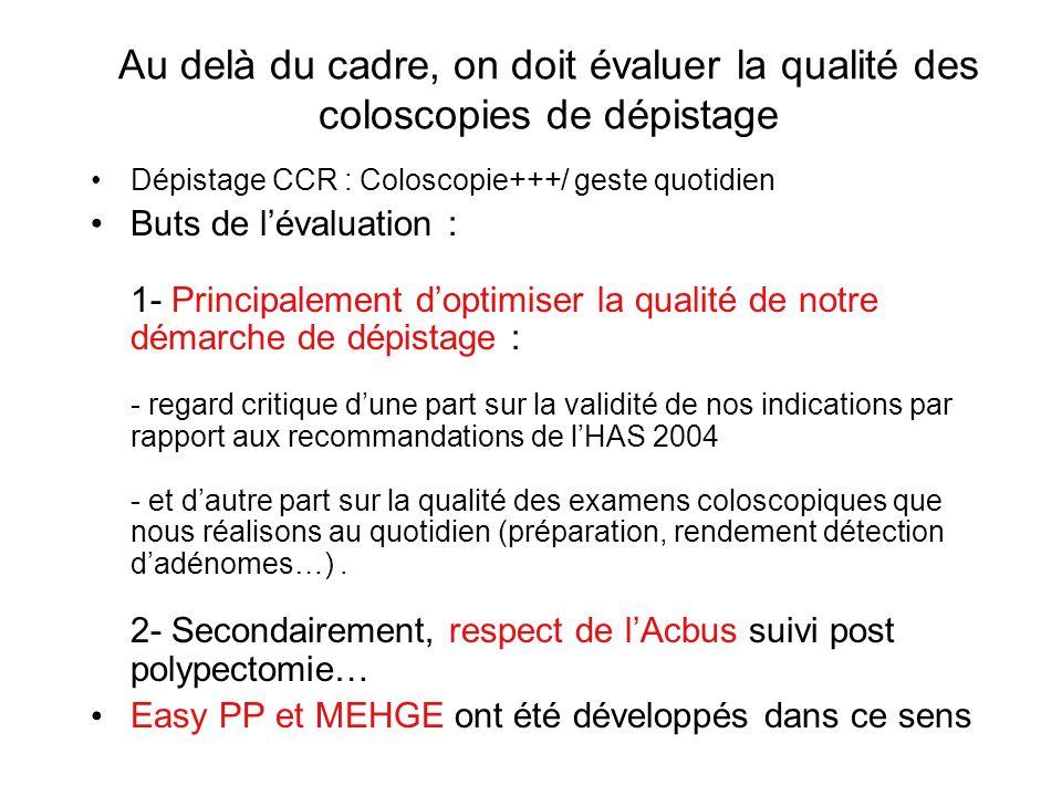 Au delà du cadre, on doit évaluer la qualité des coloscopies de dépistage Dépistage CCR : Coloscopie+++/ geste quotidien Buts de lévaluation : 1- Prin