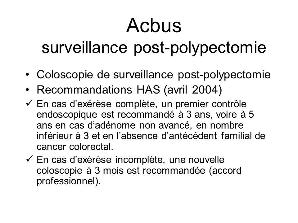 Acbus Indicateur de contrôle % de patients ayant bénéficié dune polypectomie et chez lesquels on observe une (ou plusieurs) nouvelle(s) coloscopie(s) entre les 4e mois (inclus) et 24e mois suivant la polypectomie le taux de lindicateur doit être inférieur à 0,5 %.