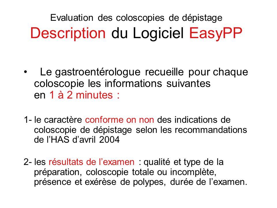 Evaluation des coloscopies de dépistage Description du Logiciel EasyPP Le gastroentérologue recueille pour chaque coloscopie les informations suivante
