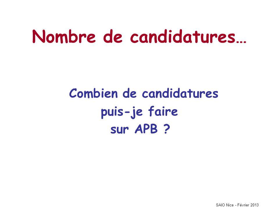 SAIO Nice - Février 2013 Nombre de candidatures… Combien de candidatures puis-je faire sur APB