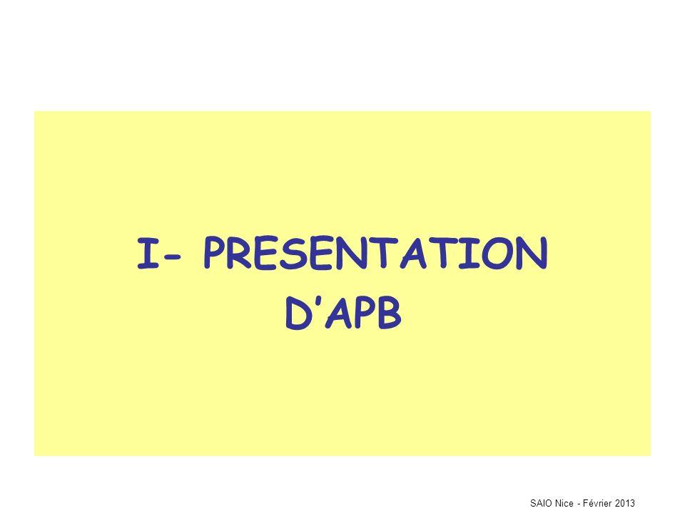 SAIO Nice - Février 2013 I- PRESENTATION DAPB