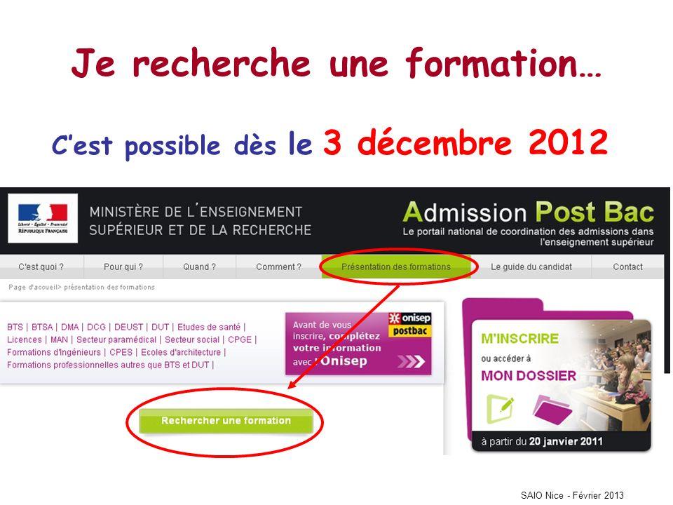 Je recherche une formation… Cest possible dès le 3 décembre 2012