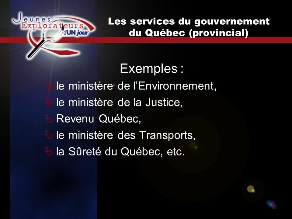Jeunes explorateurs d un jour7 Les services du gouvernement du Québec (provincial) Exemples : le ministère de lEnvironnement, le ministère de la Justice, Revenu Québec, le ministère des Transports, la Sûreté du Québec, etc.