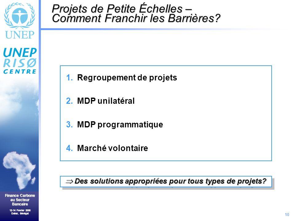 10 Finance Carbone au Secteur Bancaire 12-14 Fevrier 2008 Dakar, Sénégal Projets de Petite Échelles – Comment Franchir les Barrières.
