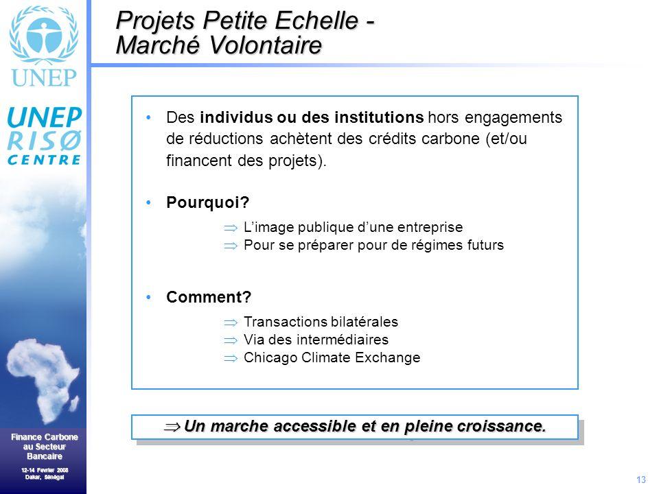 13 Finance Carbone au Secteur Bancaire 12-14 Fevrier 2008 Dakar, Sénégal Projets Petite Echelle - Marché Volontaire Des individus ou des institutions hors engagements de réductions achètent des crédits carbone (et/ou financent des projets).
