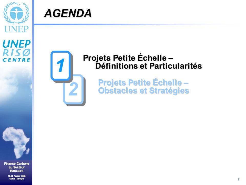 3 Finance Carbone au Secteur Bancaire 12-14 Fevrier 2008 Dakar, Sénégal Projets Petite Échelle – Définitions et Particularités Projets Petite Échelle – Obstacles et Stratégies AGENDA 2 2 1 1