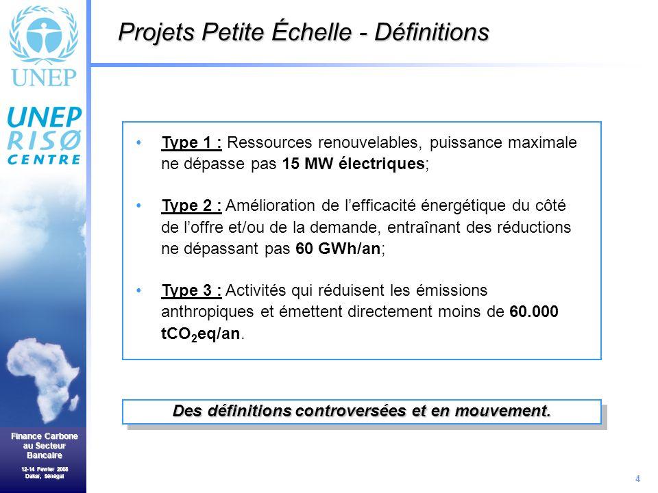 4 Finance Carbone au Secteur Bancaire 12-14 Fevrier 2008 Dakar, Sénégal Type 1 : Ressources renouvelables, puissance maximale ne dépasse pas 15 MW électriques; Type 2 : Amélioration de lefficacité énergétique du côté de loffre et/ou de la demande, entraînant des réductions ne dépassant pas 60 GWh/an; Type 3 : Activités qui réduisent les émissions anthropiques et émettent directement moins de 60.000 tCO 2 eq/an.