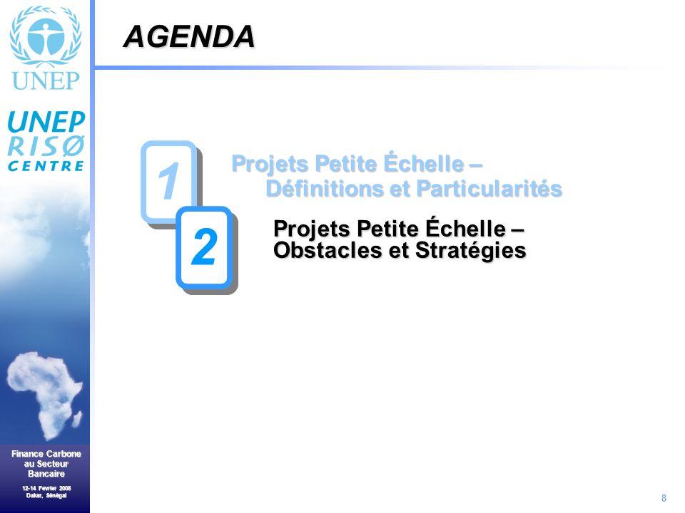 8 Finance Carbone au Secteur Bancaire 12-14 Fevrier 2008 Dakar, Sénégal Projets Petite Échelle – Définitions et Particularités Projets Petite Échelle – Obstacles et Stratégies AGENDA 1 1 2 2