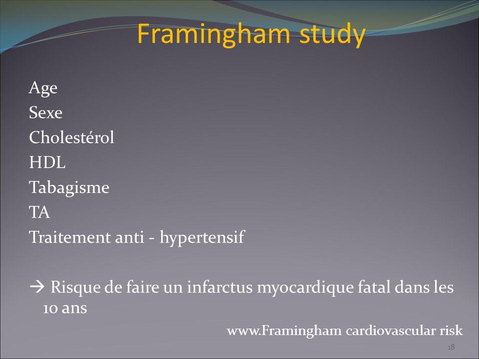 Framingham study Age Sexe Cholestérol HDL Tabagisme TA Traitement anti - hypertensif Risque de faire un infarctus myocardique fatal dans les 10 ans ww