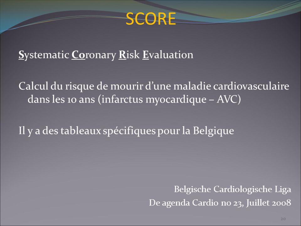 SCORE Systematic Coronary Risk Evaluation Calcul du risque de mourir dune maladie cardiovasculaire dans les 10 ans (infarctus myocardique – AVC) Il y