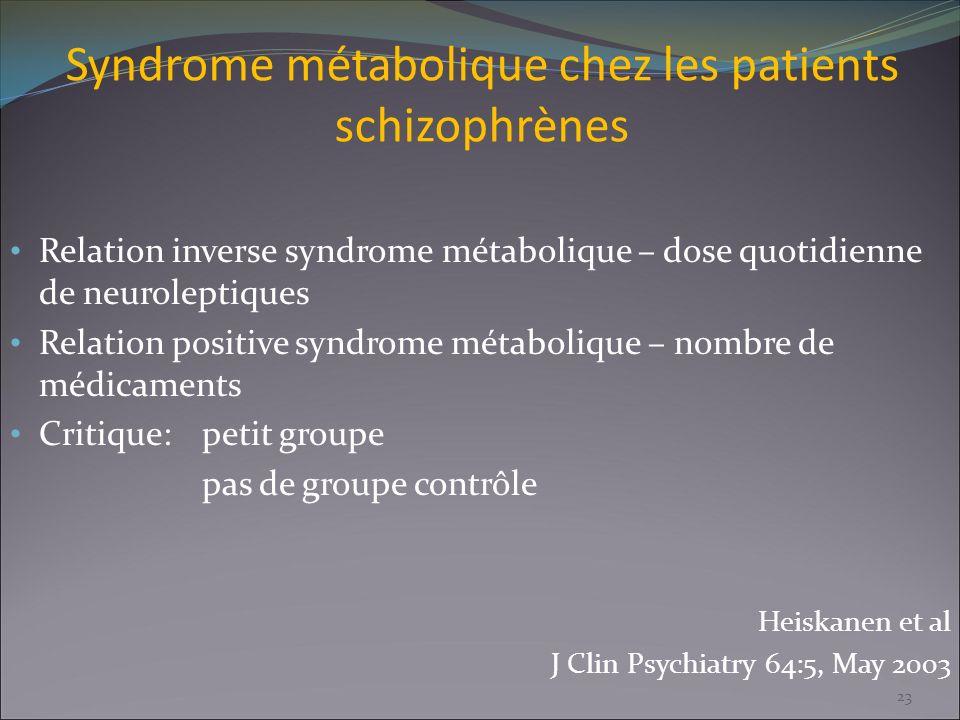 Syndrome métabolique chez les patients schizophrènes Relation inverse syndrome métabolique – dose quotidienne de neuroleptiques Relation positive synd