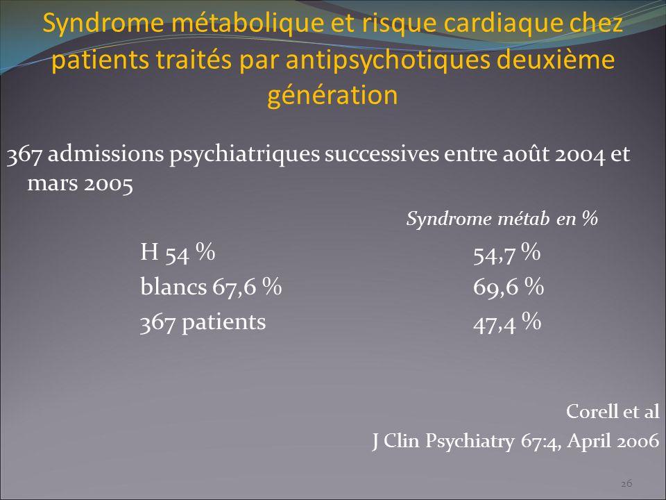 Syndrome métabolique et risque cardiaque chez patients traités par antipsychotiques deuxième génération 367 admissions psychiatriques successives entr