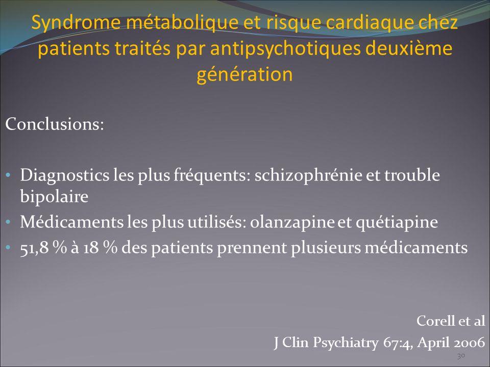 Syndrome métabolique et risque cardiaque chez patients traités par antipsychotiques deuxième génération Conclusions: Diagnostics les plus fréquents: s