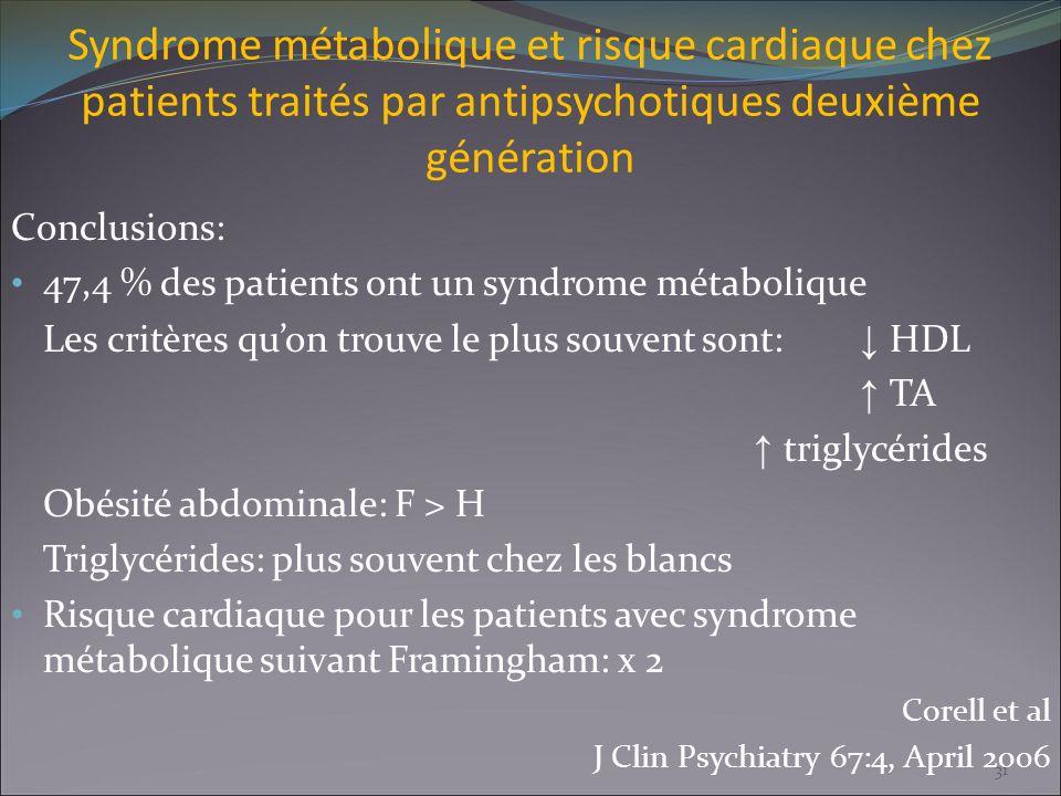Syndrome métabolique et risque cardiaque chez patients traités par antipsychotiques deuxième génération Conclusions: 47,4 % des patients ont un syndro