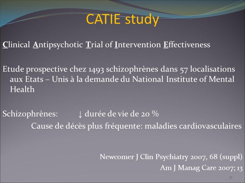 CATIE study Clinical Antipsychotic Trial of Intervention Effectiveness Etude prospective chez 1493 schizophrènes dans 57 localisations aux Etats – Uni