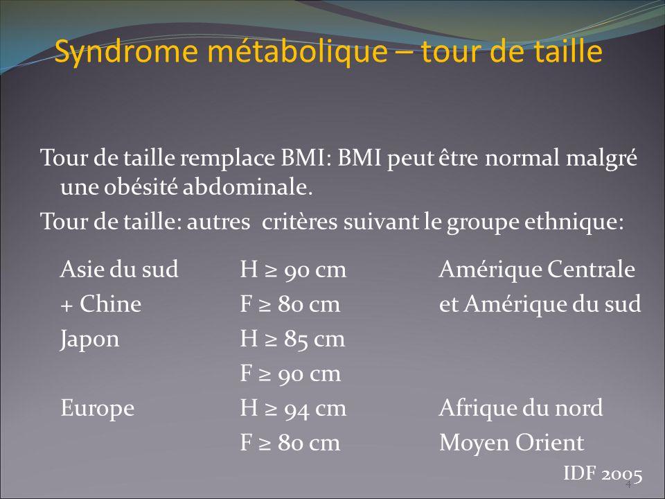 Syndrome métabolique – tour de taille Tour de taille remplace BMI: BMI peut être normal malgré une obésité abdominale. Tour de taille: autres critères