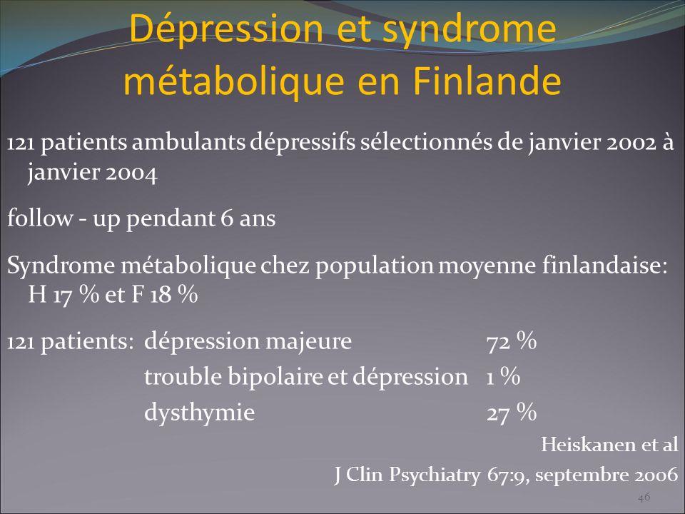 Dépression et syndrome métabolique en Finlande 121 patients ambulants dépressifs sélectionnés de janvier 2002 à janvier 2004 follow - up pendant 6 ans