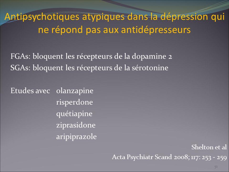 Antipsychotiques atypiques dans la dépression qui ne répond pas aux antidépresseurs FGAs: bloquent les récepteurs de la dopamine 2 SGAs: bloquent les