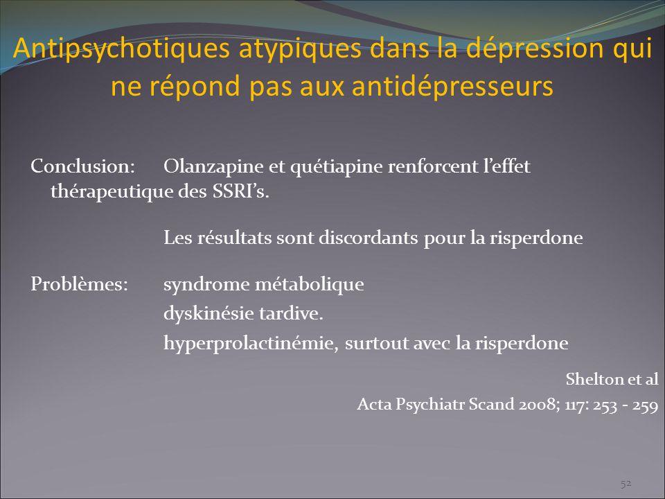 Antipsychotiques atypiques dans la dépression qui ne répond pas aux antidépresseurs Conclusion:Olanzapine et quétiapine renforcent leffet thérapeutiqu