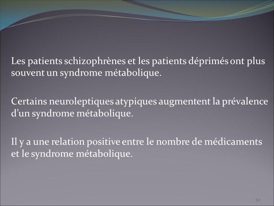Les patients schizophrènes et les patients déprimés ont plus souvent un syndrome métabolique. Certains neuroleptiques atypiques augmentent la prévalen