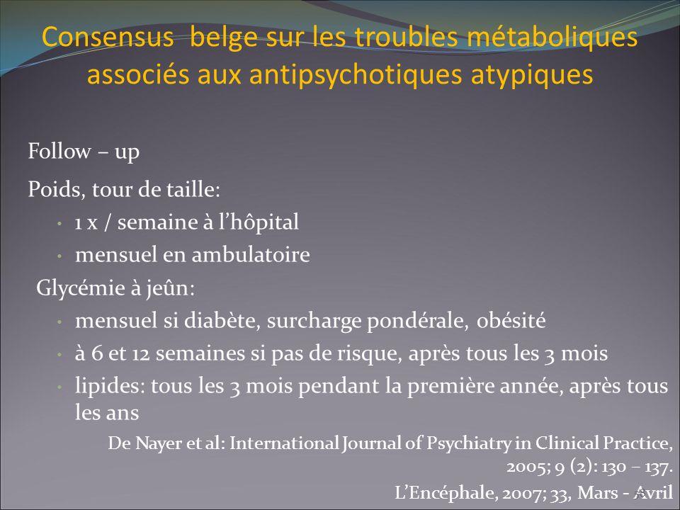 Consensus belge sur les troubles métaboliques associés aux antipsychotiques atypiques Follow – up Poids, tour de taille: 1 x / semaine à lhôpital mens