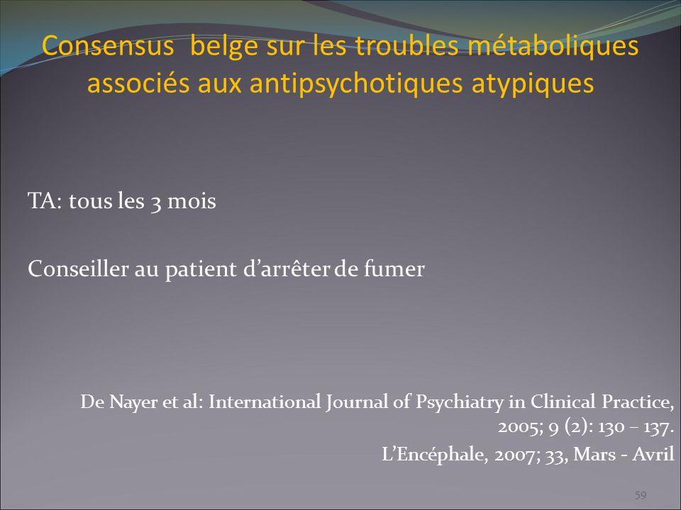 Consensus belge sur les troubles métaboliques associés aux antipsychotiques atypiques TA: tous les 3 mois Conseiller au patient darrêter de fumer De N
