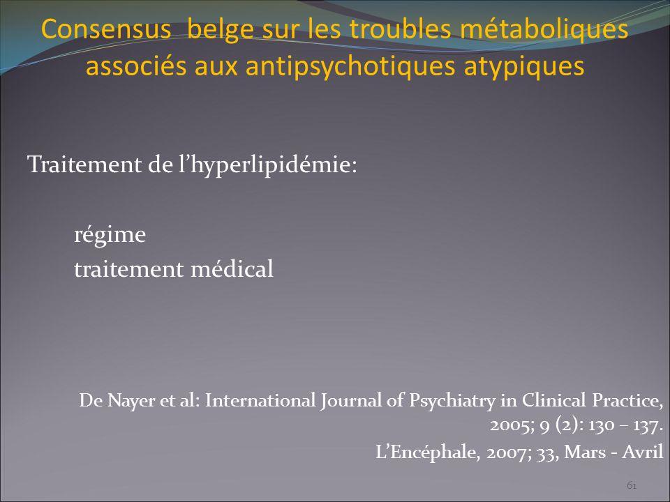 Consensus belge sur les troubles métaboliques associés aux antipsychotiques atypiques Traitement de lhyperlipidémie: régime traitement médical De Naye