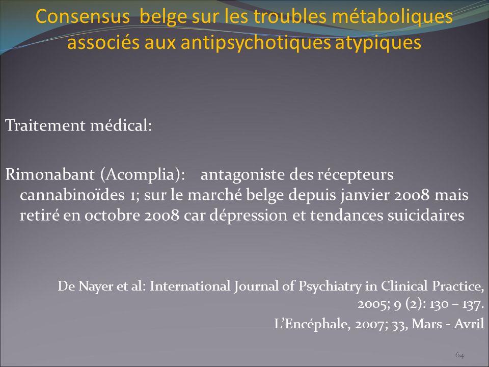 Consensus belge sur les troubles métaboliques associés aux antipsychotiques atypiques Traitement médical: Rimonabant (Acomplia):antagoniste des récept