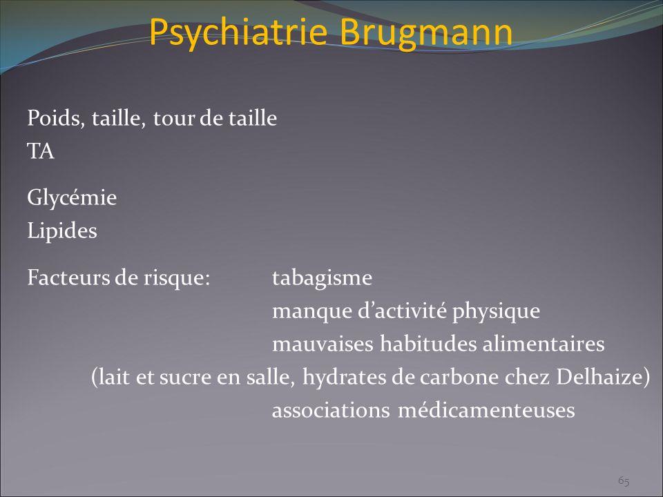 Psychiatrie Brugmann Poids, taille, tour de taille TA Glycémie Lipides Facteurs de risque:tabagisme manque dactivité physique mauvaises habitudes alim