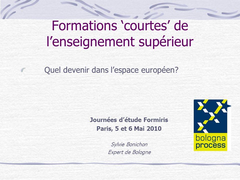 Formations courtes de lenseignement supérieur Quel devenir dans lespace européen? Journées détude Formiris Paris, 5 et 6 Mai 2010 Sylvie Bonichon Expe
