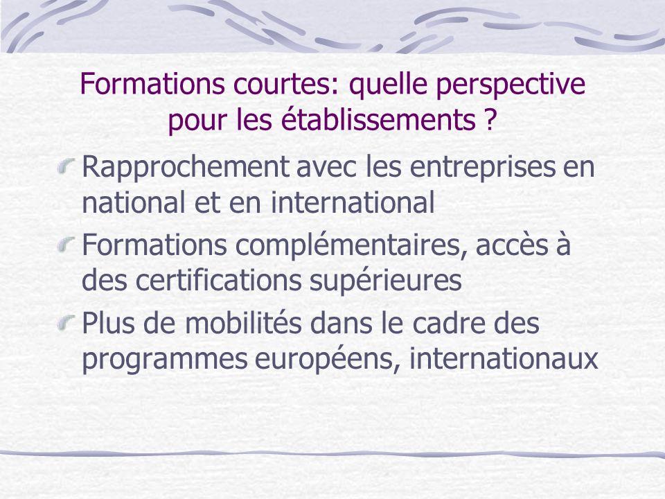 Formations courtes: quelle perspective pour les établissements ? Rapprochement avec les entreprises en national et en international Formations complém