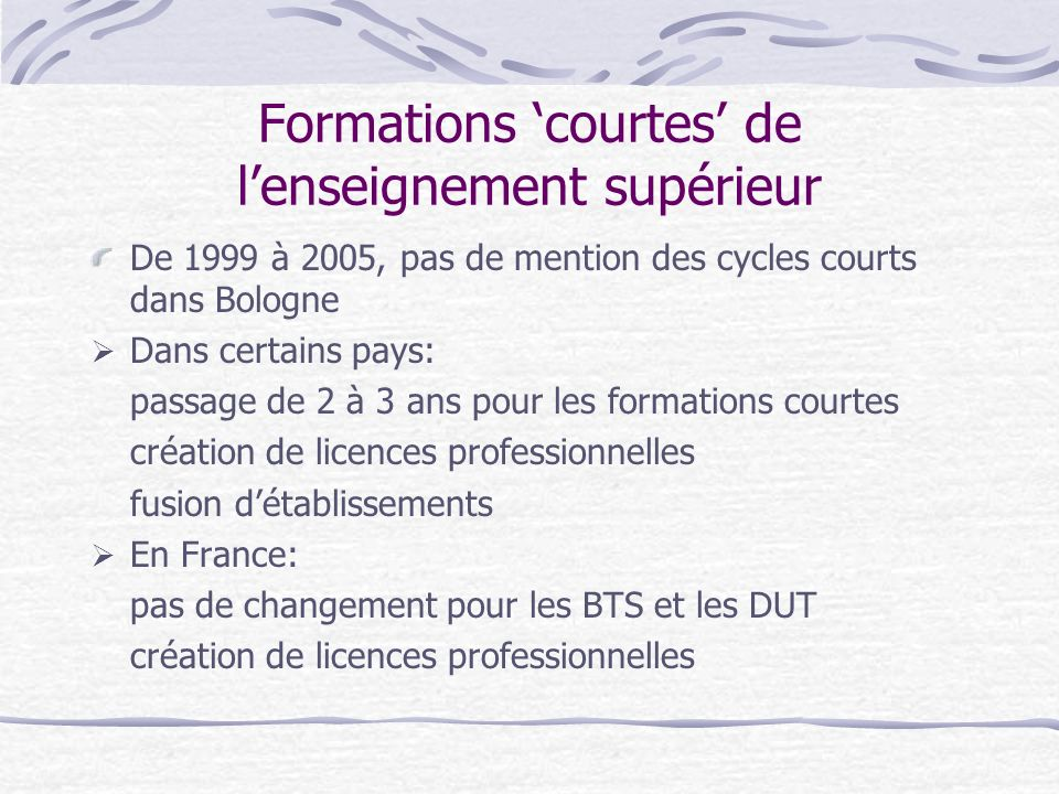 Formations courtes de lenseignement supérieur De 1999 à 2005, pas de mention des cycles courts dans Bologne Dans certains pays: passage de 2 à 3 ans pour les formations courtes création de licences professionnelles fusion détablissements En France: pas de changement pour les BTS et les DUT création de licences professionnelles