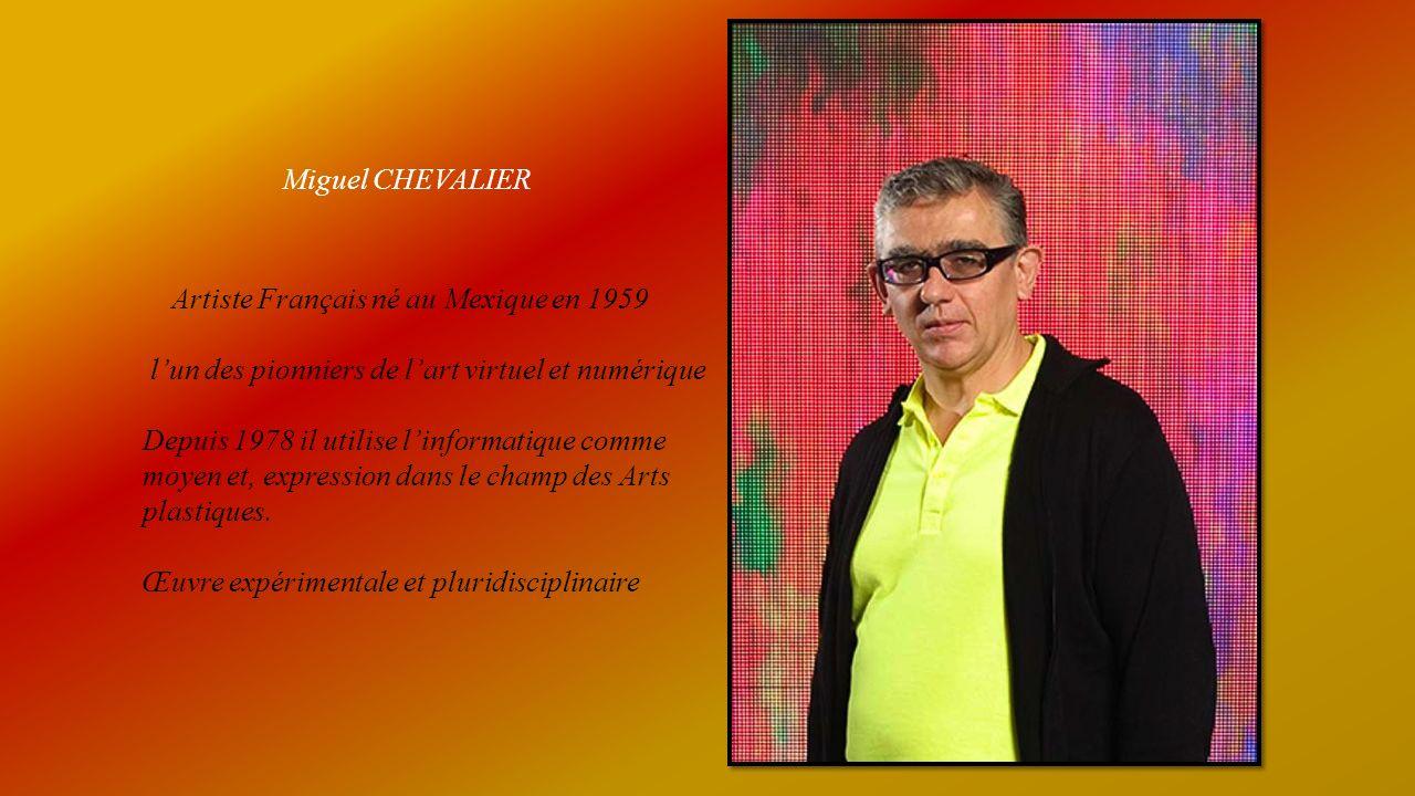 Miguel CHEVALIER Artiste Français né au Mexique en 1959 lun des pionniers de lart virtuel et numérique Depuis 1978 il utilise linformatique comme moyen et, expression dans le champ des Arts plastiques.