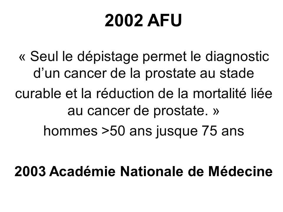 2002 AFU « Seul le dépistage permet le diagnostic dun cancer de la prostate au stade curable et la réduction de la mortalité liée au cancer de prostat