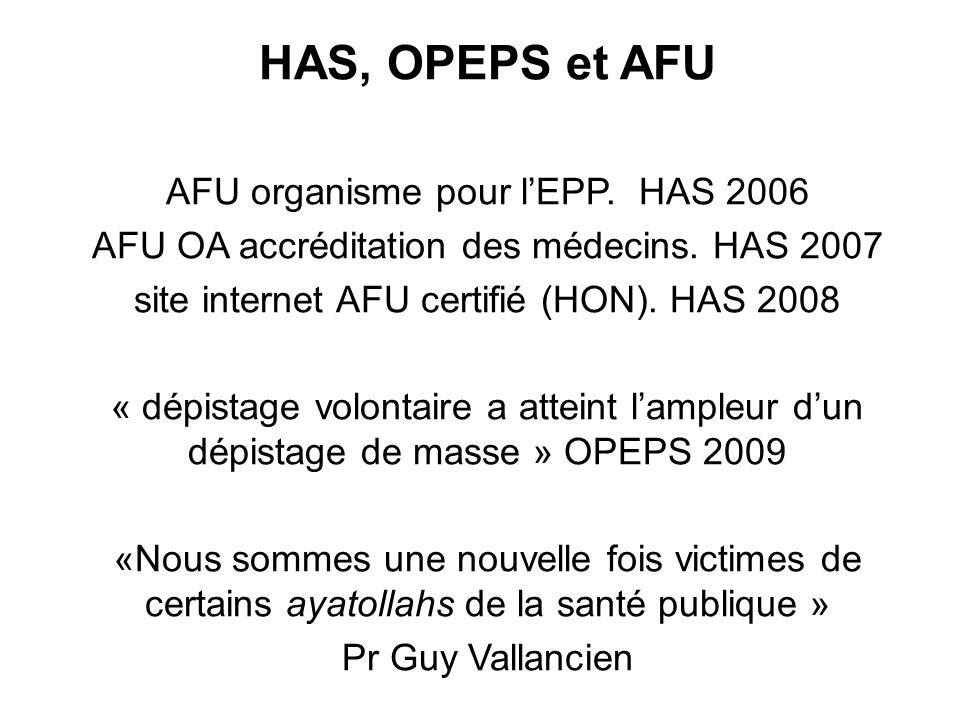 HAS, OPEPS et AFU AFU organisme pour lEPP. HAS 2006 AFU OA accréditation des médecins. HAS 2007 site internet AFU certifié (HON). HAS 2008 « dépistage