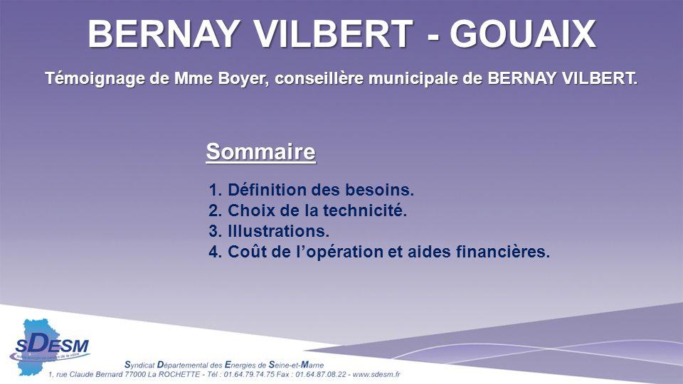 Témoignage de Mme Boyer, conseillère municipale de BERNAY VILBERT. 1. Définition des besoins. 2. Choix de la technicité. 3. Illustrations. 4. Coût de
