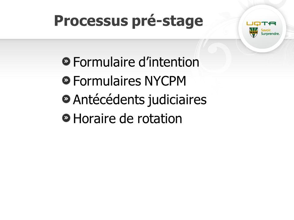 Processus pré-stage Formulaire dintention Formulaires NYCPM Antécédents judiciaires Horaire de rotation